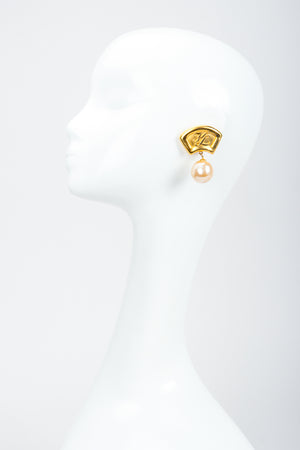 Recess Vintage Karl Lagerfeld Golden Fan Pearl Drop Earrings on Mannequin