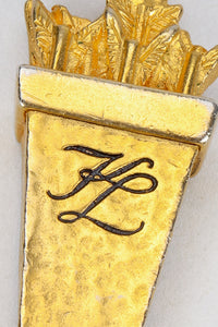 Vintage Karl Lagerfeld Gold Chain Link Arrow Charm Detail