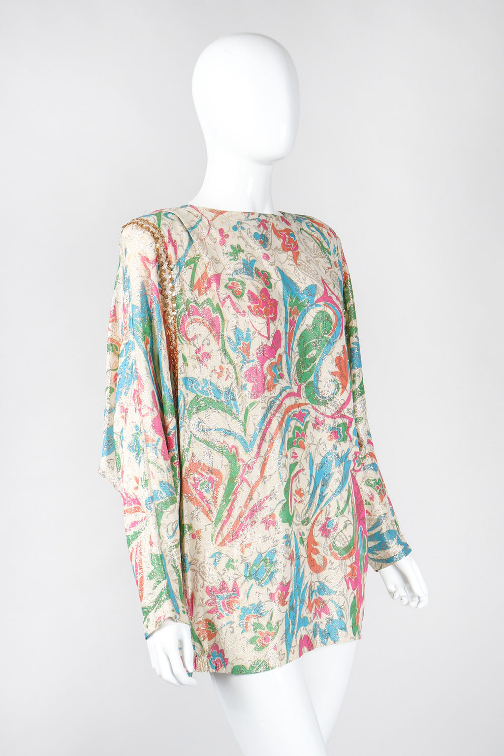 Recess Los Angeles Vintage Lucie Ann Floral Lamé Brocade Glitter Batwing Top
