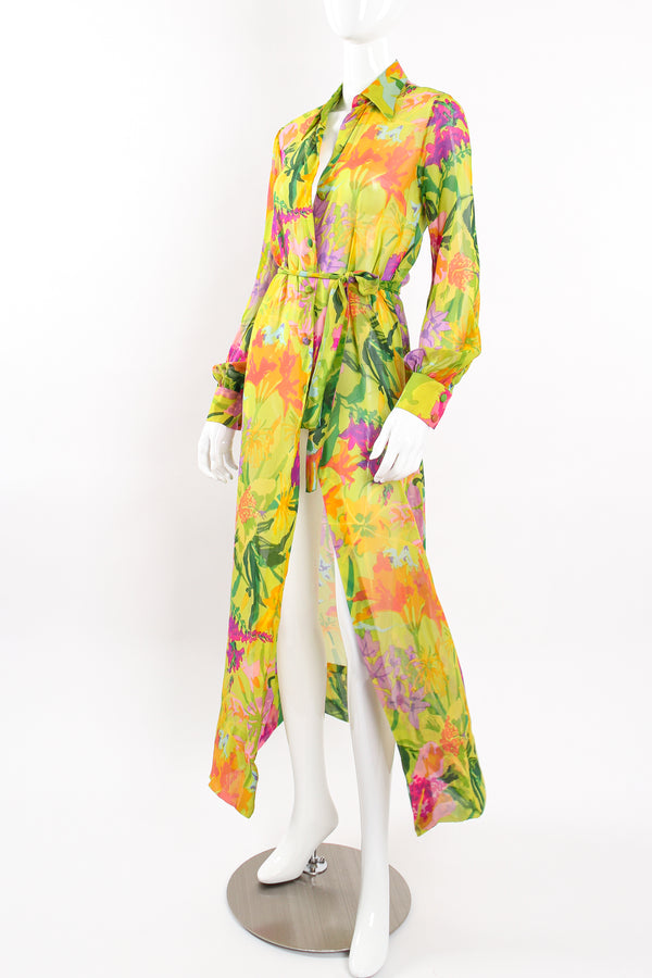 Vintage Ken Scott Tropical Chiffon Shirt Dress Duster on Mannequin front angle at Recess LA