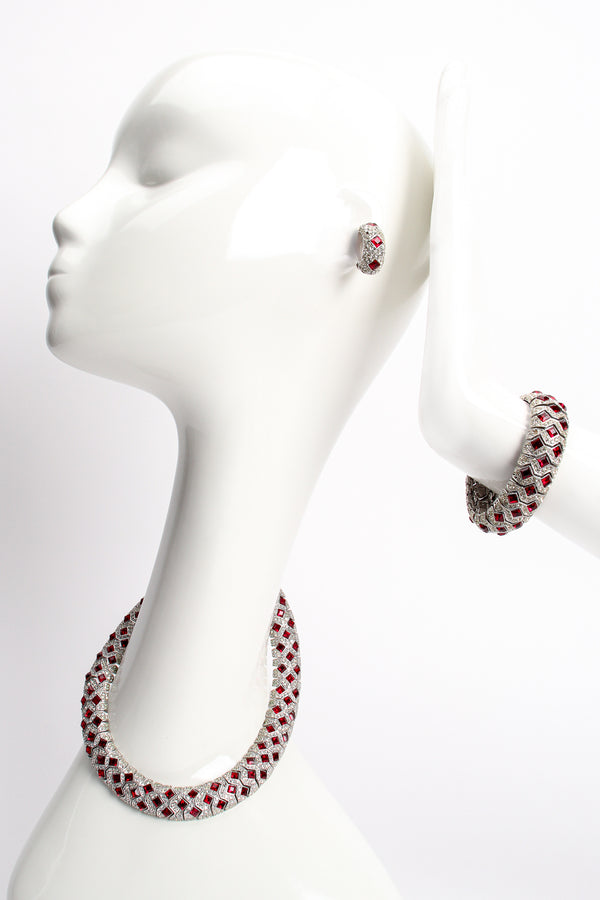 Vintage Kenneth Jay Lane Diamond Ruby Collar Bracelet & Earring Set on Mannequin at Recess Los Angeles