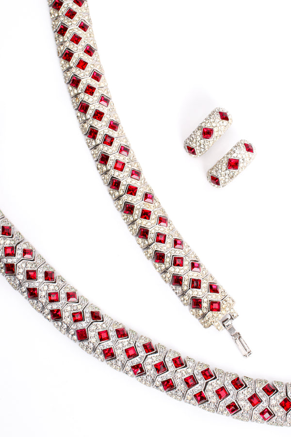 Vintage Kenneth Jay Lane Diamond Ruby Collar Bracelet & Earring Set at Recess Los Angeles