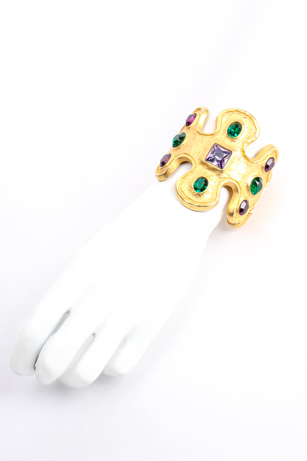 Vintage Kenneth Lane Jeweled Wavy Cuff Bracelet on Mannequin at Recess Los Angeles