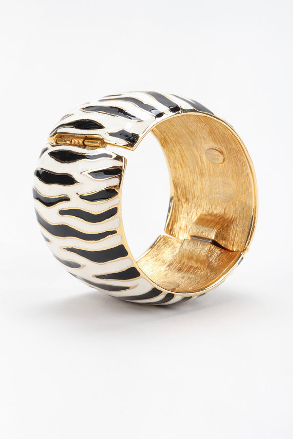 Recess Los Angeles Vintage Kenneth Jay Lane Zebra Enamel Cuff Bracelet