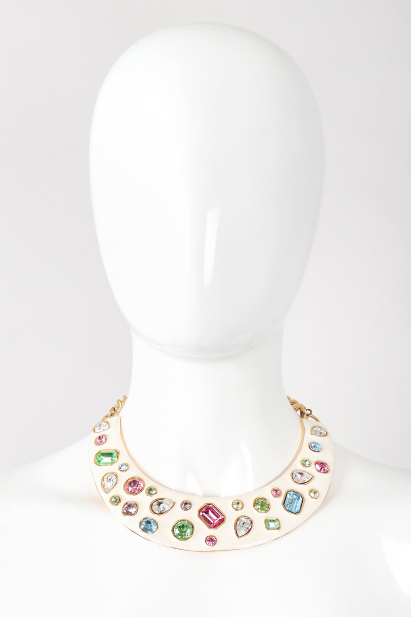 Recess Los Angeles Vintage Kenneth Jay Lane Gemstone Enamel Collar Plate Necklace
