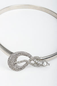 Vintage Kenneth Lane Silver Crystal Studded Snake Belt at Recess Los Angeles