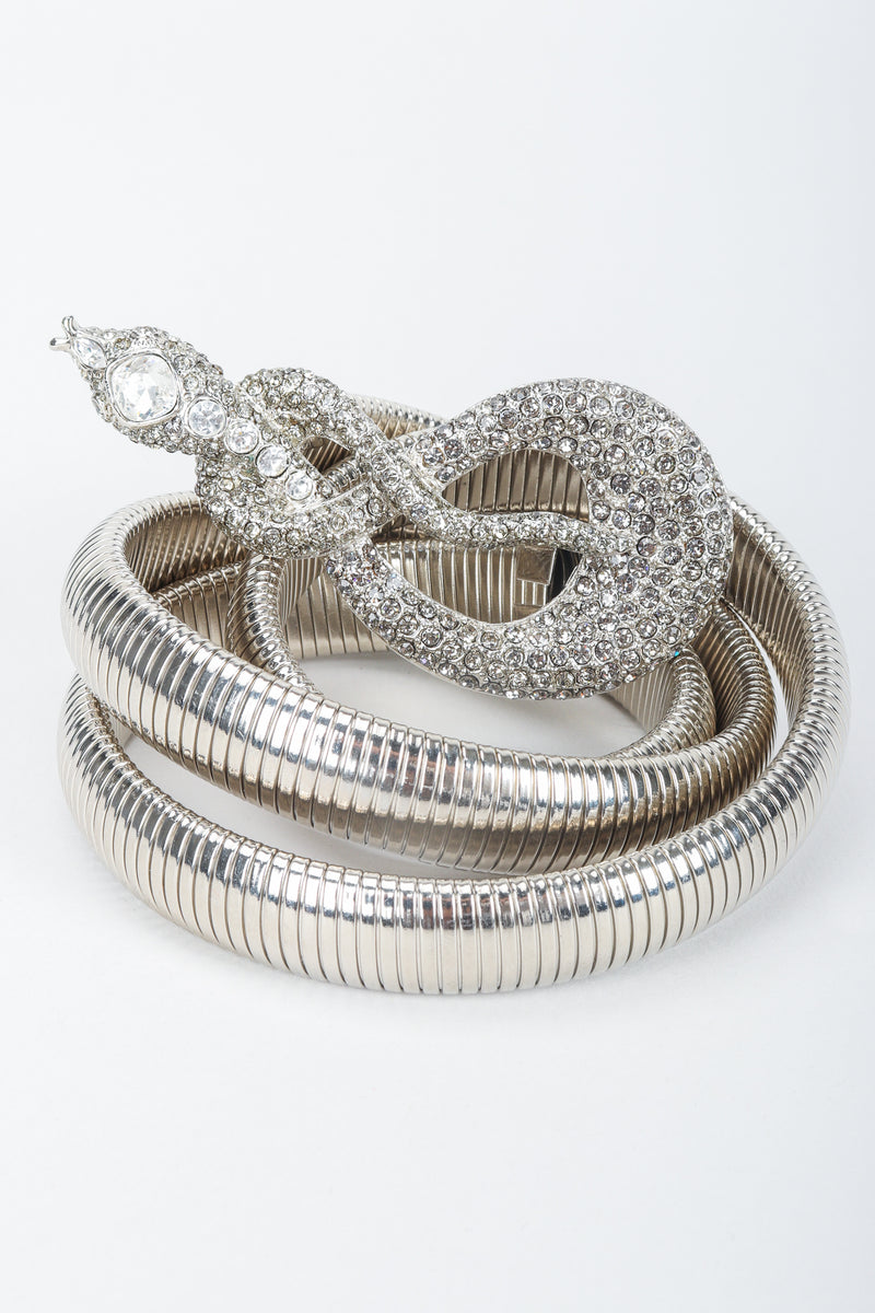Vintage Kenneth Lane Silver Crystal Studded Snake Belt, coiled