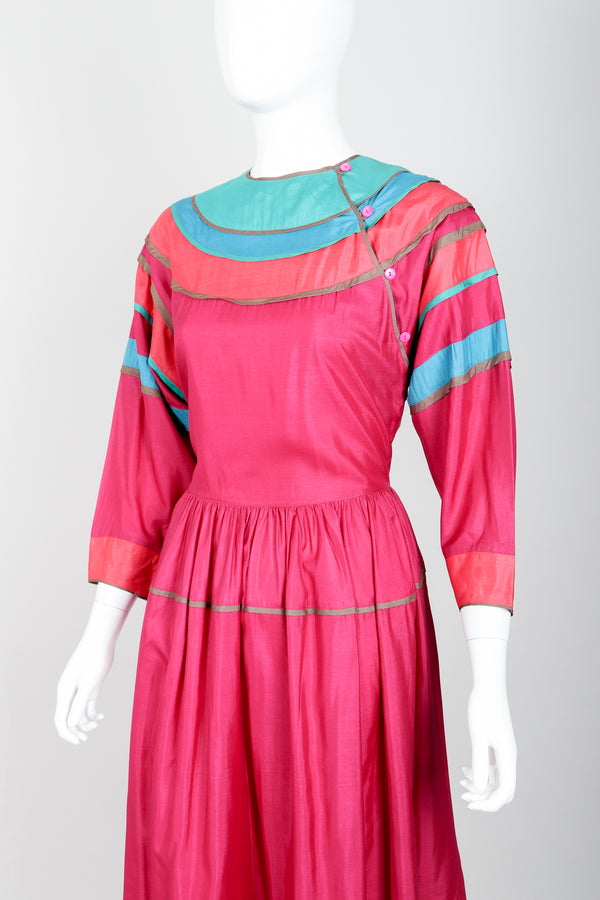 Vintage Kenzo Colorblock Silk Peasant Dress on mannequin front crop at Recess Los Angeles