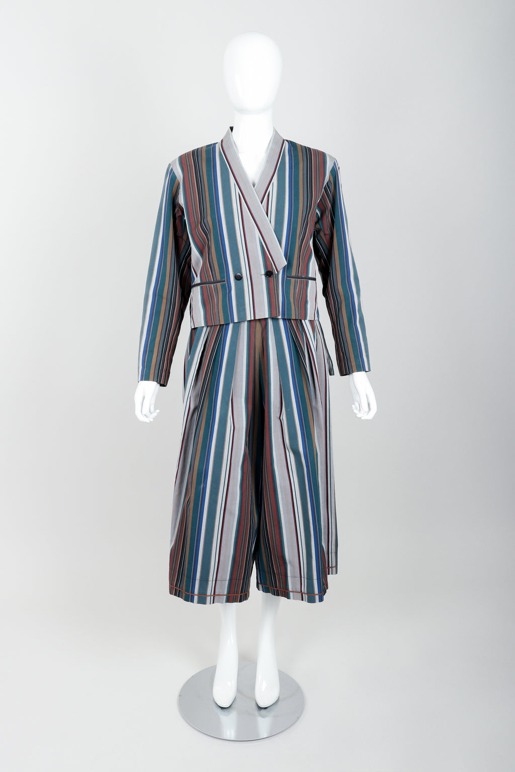 Vintage Kenzo Striped Jacket & Hakama Culotte Ensemble on mannequin front at Recess Los Angeles