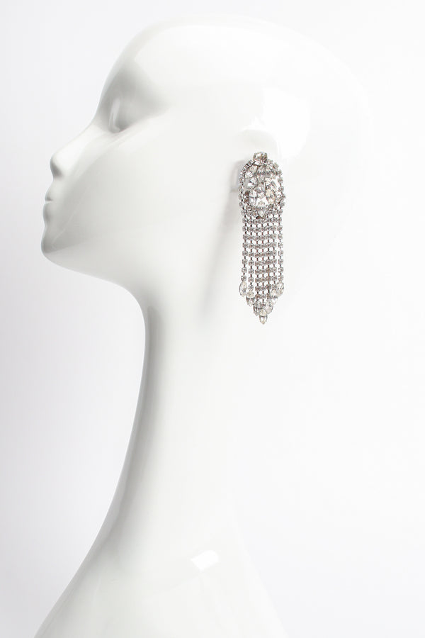 Vintage Kirks Folly Rhinestone Marquise Fringe Earrings on mannequin at Recess Los Angeles