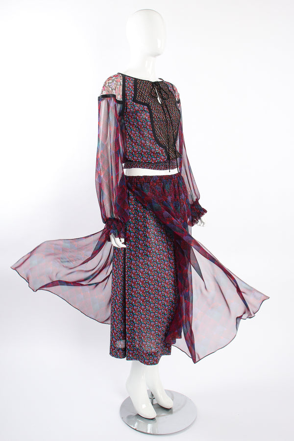 Vintage Koos Van Den Akker Mixed Print Crop Top & Skirt Set on Mannequin float at Recess LA