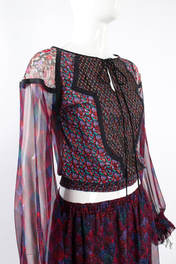 Vintage Koos Van Den Akker Mixed Print Crop Top & Skirt Set on Mannequin crop at Recess LA