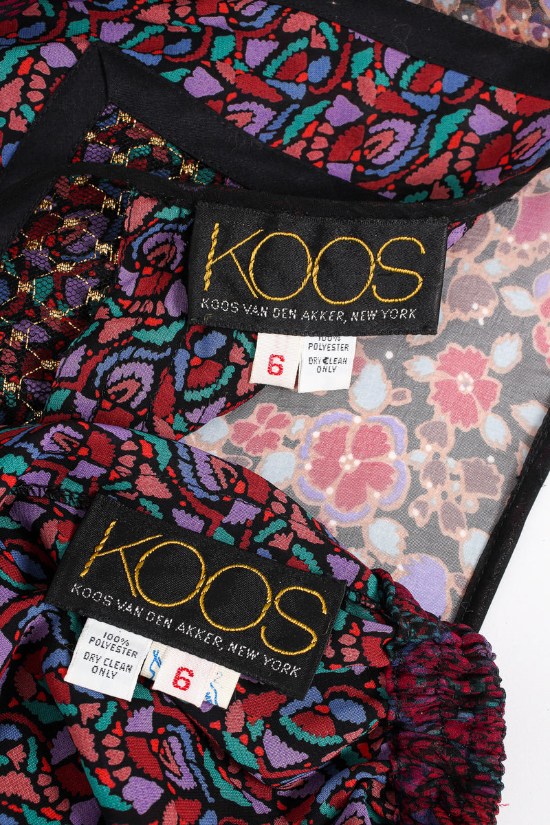 Vintage Koos Van Den Akker Mixed Print Skirt Set labels at Recess LA