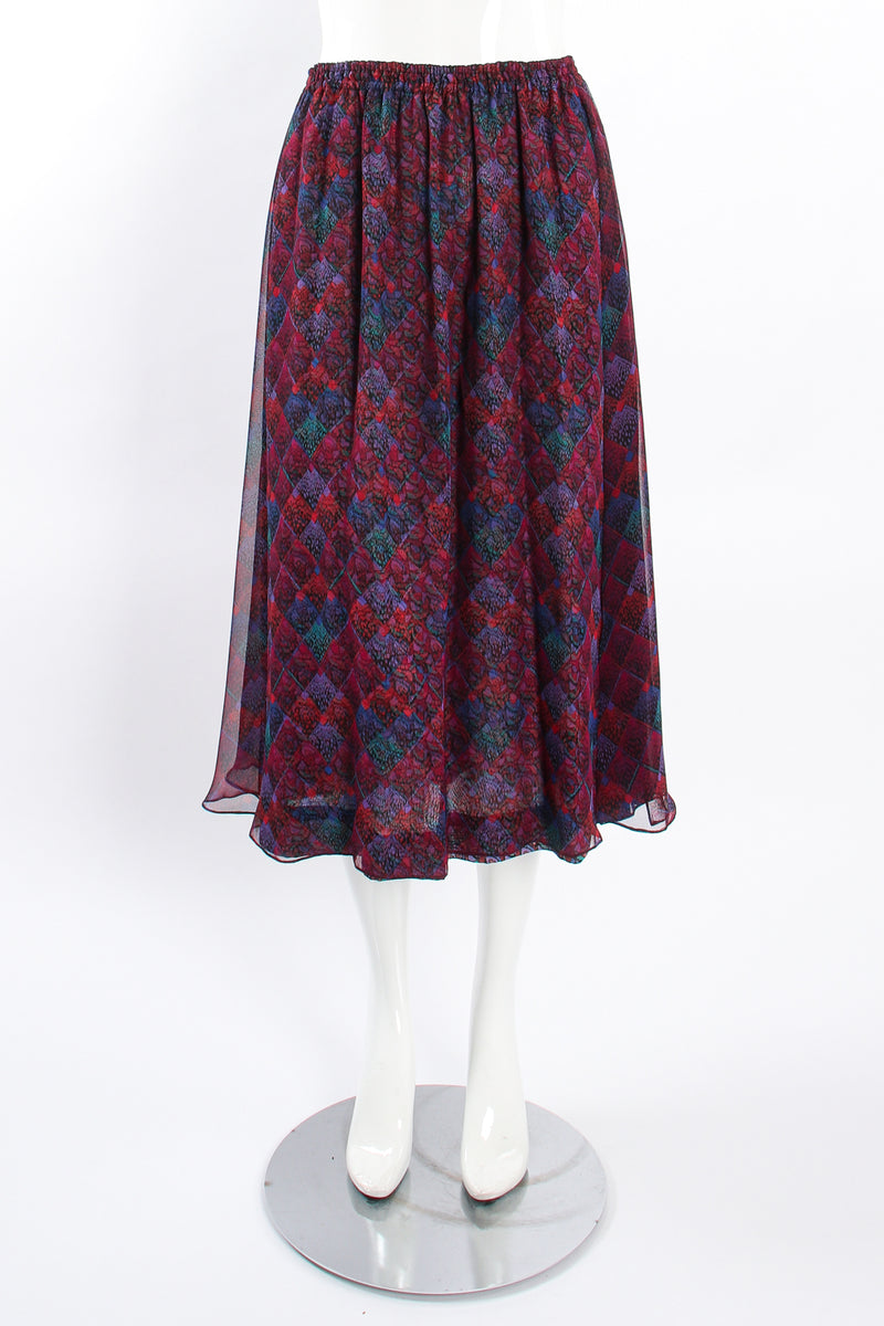 Vintage Koos Van Den Akker Mixed Print Skirt Set on mannequin front at Recess LA
