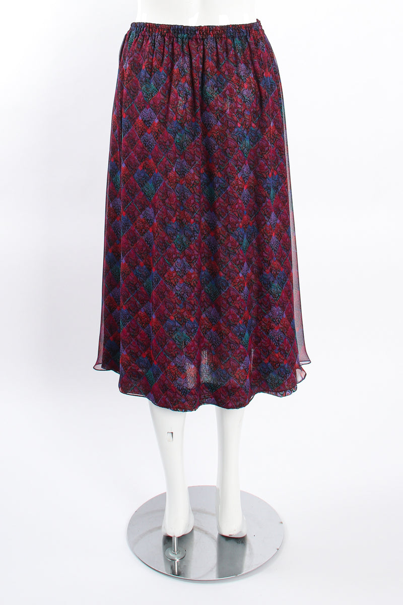 Vintage Koos Van Den Akker Mixed Print Skirt Set on mannequin back at Recess LA
