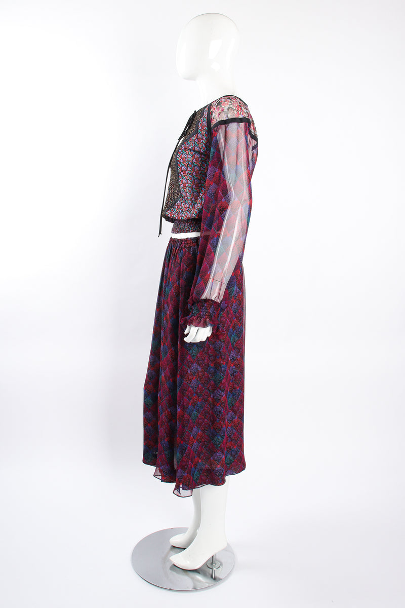 Vintage Koos Van Den Akker Mixed Print Crop Top & Skirt Set on Mannequin side at Recess LA
