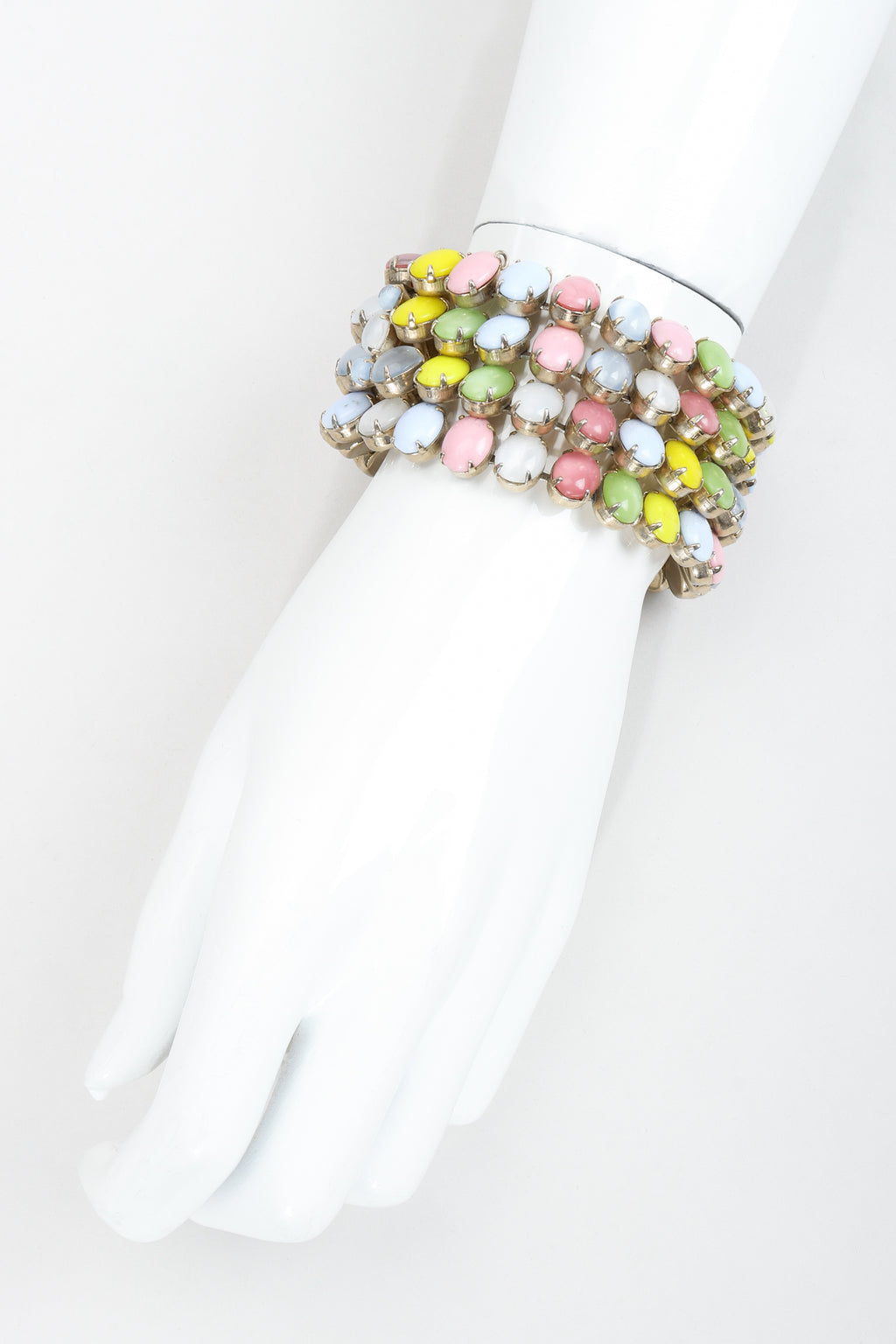 Vintage Kramer of New York Pastel Cadbury Egg Cuff Bracelet on mannequin at Recess Los Angeles