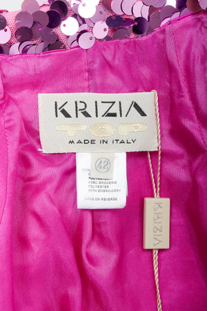 Vintage Krizia Top label on pink lining fabric