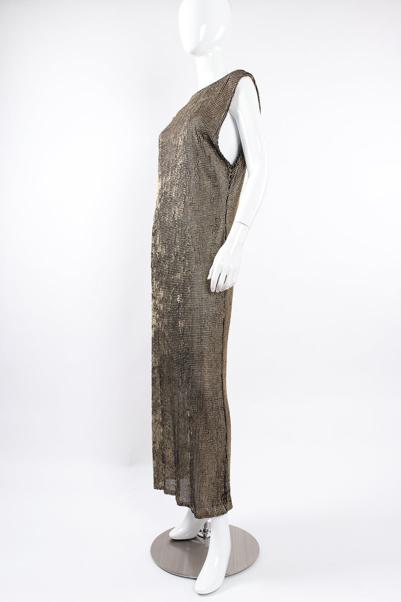Vintage Krizia Reversible Liquid Metallic Painted Dress On Mannequin angle at Recess Los Angeles