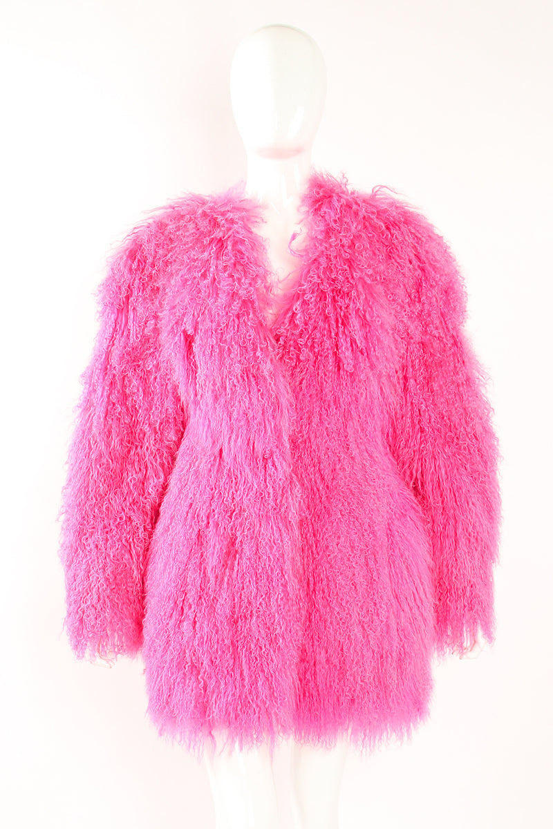Vintage Krizia Hot pInk Slim Mongolian Fur Coat on Mannequin front at Recess Los Angeles