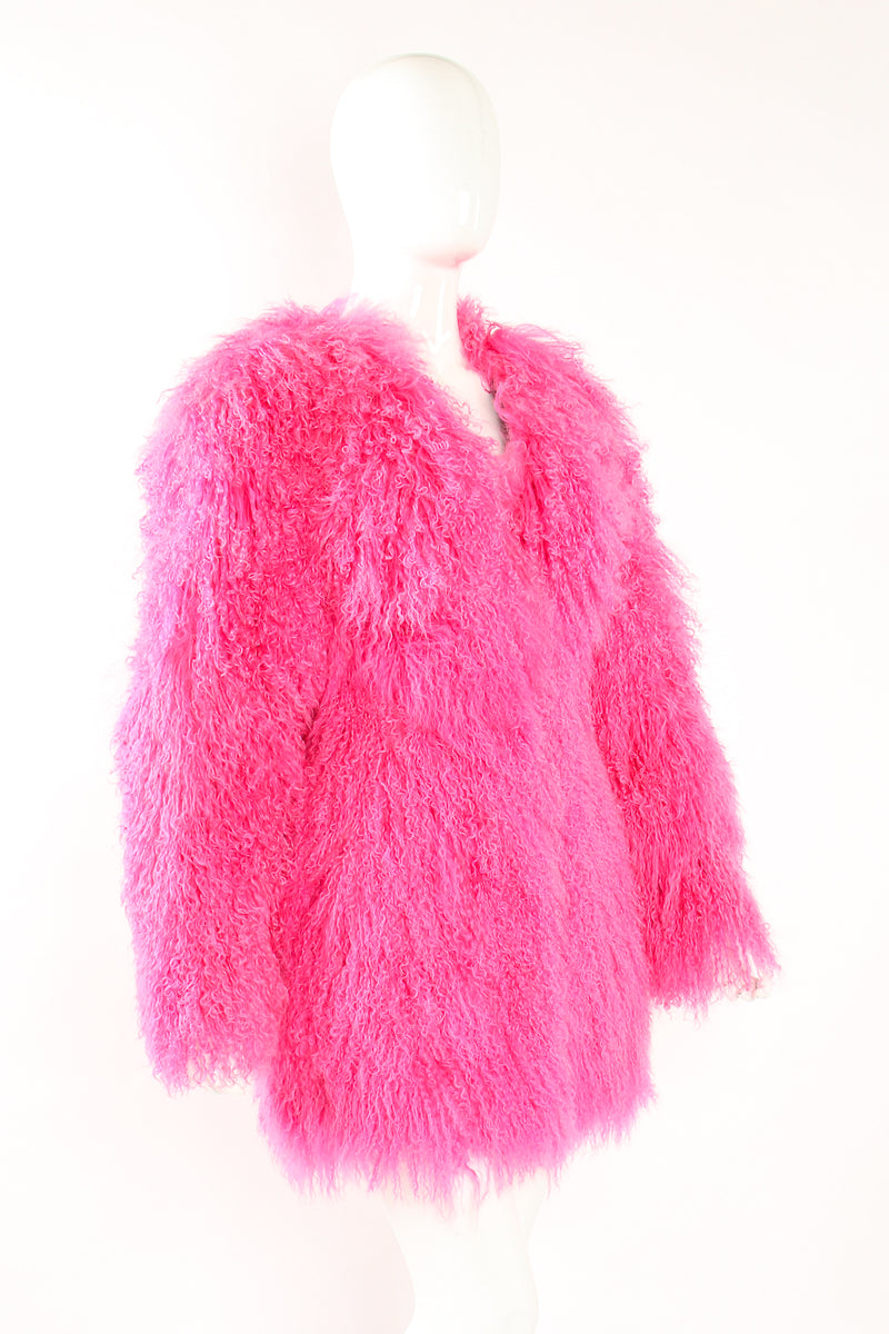 Vintage Krizia Hot pInk Slim Mongolian Fur Coat on Mannequin angle at Recess Los Angeles
