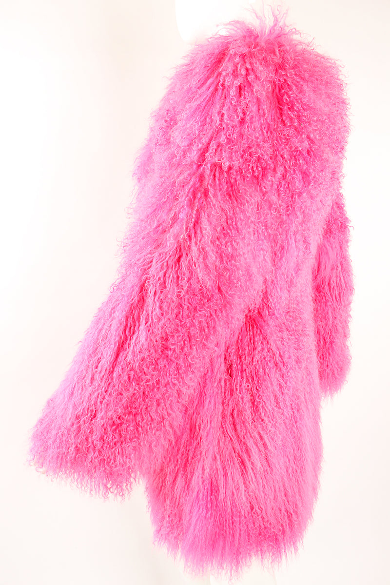 Vintage Krizia Hot pInk Slim Mongolian Fur Coat on Mannequin sleeve at Recess Los Angeles