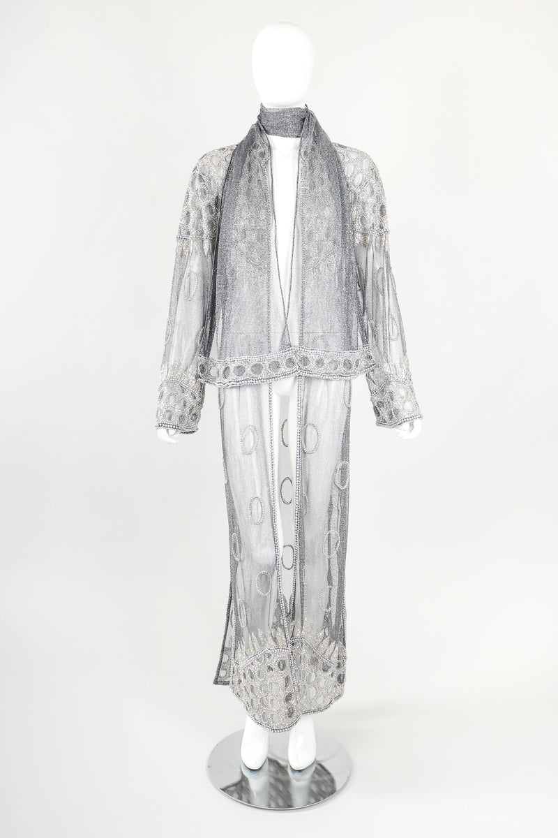 Recess Designer Consignment Vintage L'Affaire Gunmetal Sheer Beaded Duster Robe Jacket Los Angeles Resale  Price: 295