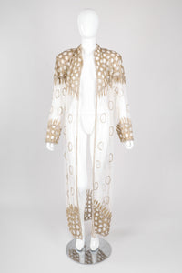 Recess Los Angeles Vintage L'Affaire Sheer Gold Beaded Bridal Kimono Duster Robe