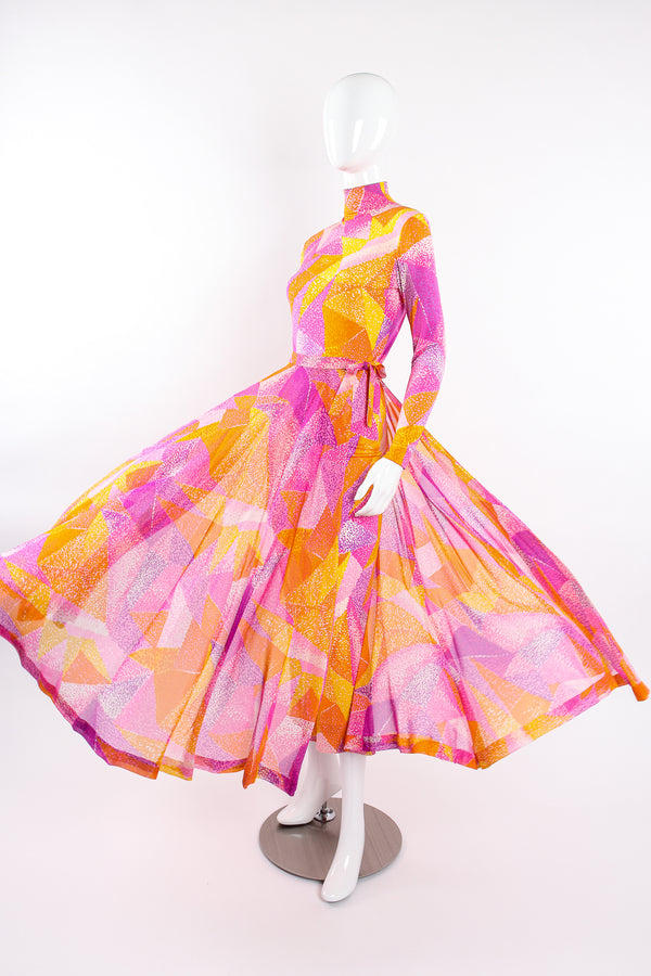 Vintage La Mendola Geometric Silk Jersey Dress & Overskirt on Mannequin flare @ Recess LA