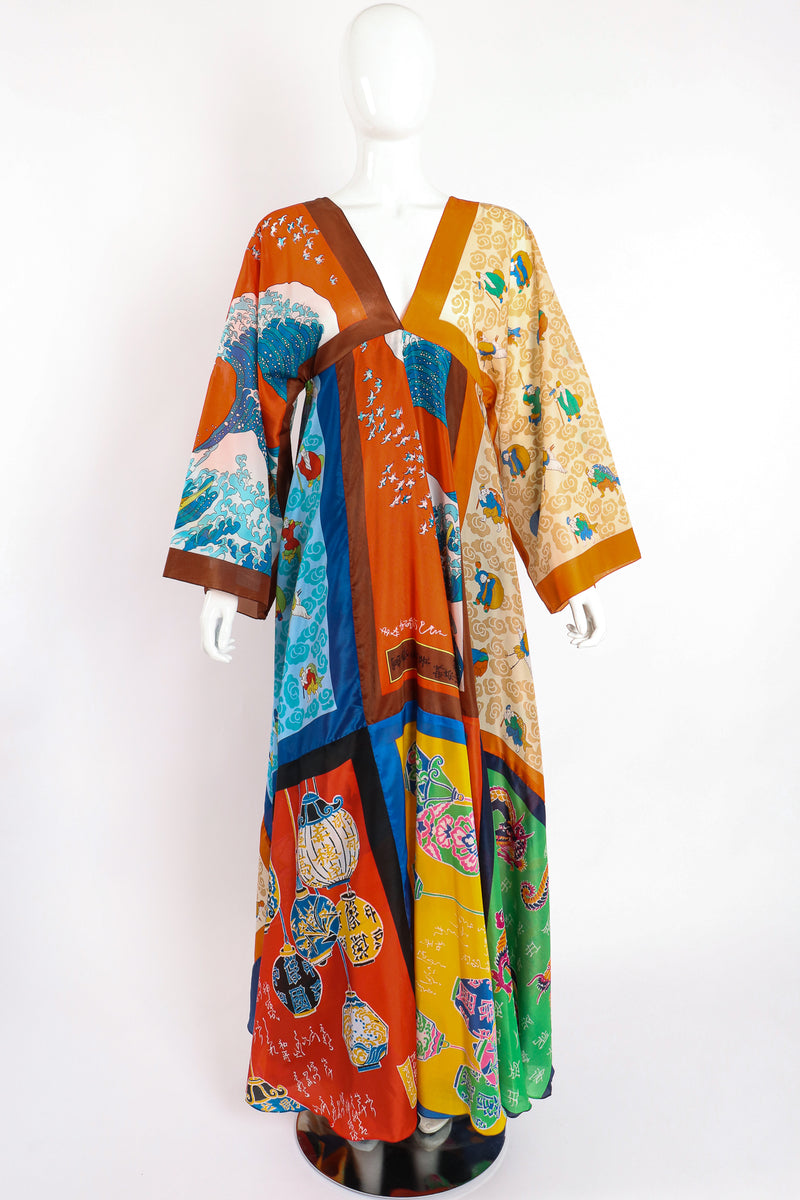 Vintage LaVetta of Beverly Hills Signature Silk Scarf Dress Caftan on Mannequin front at Recess LA
