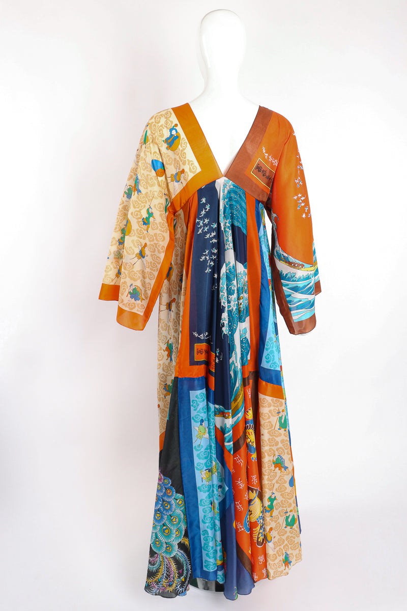 Vintage LaVetta of Beverly Hills Signature Silk Scarf Dress Caftan on Mannequin back at Recess LA