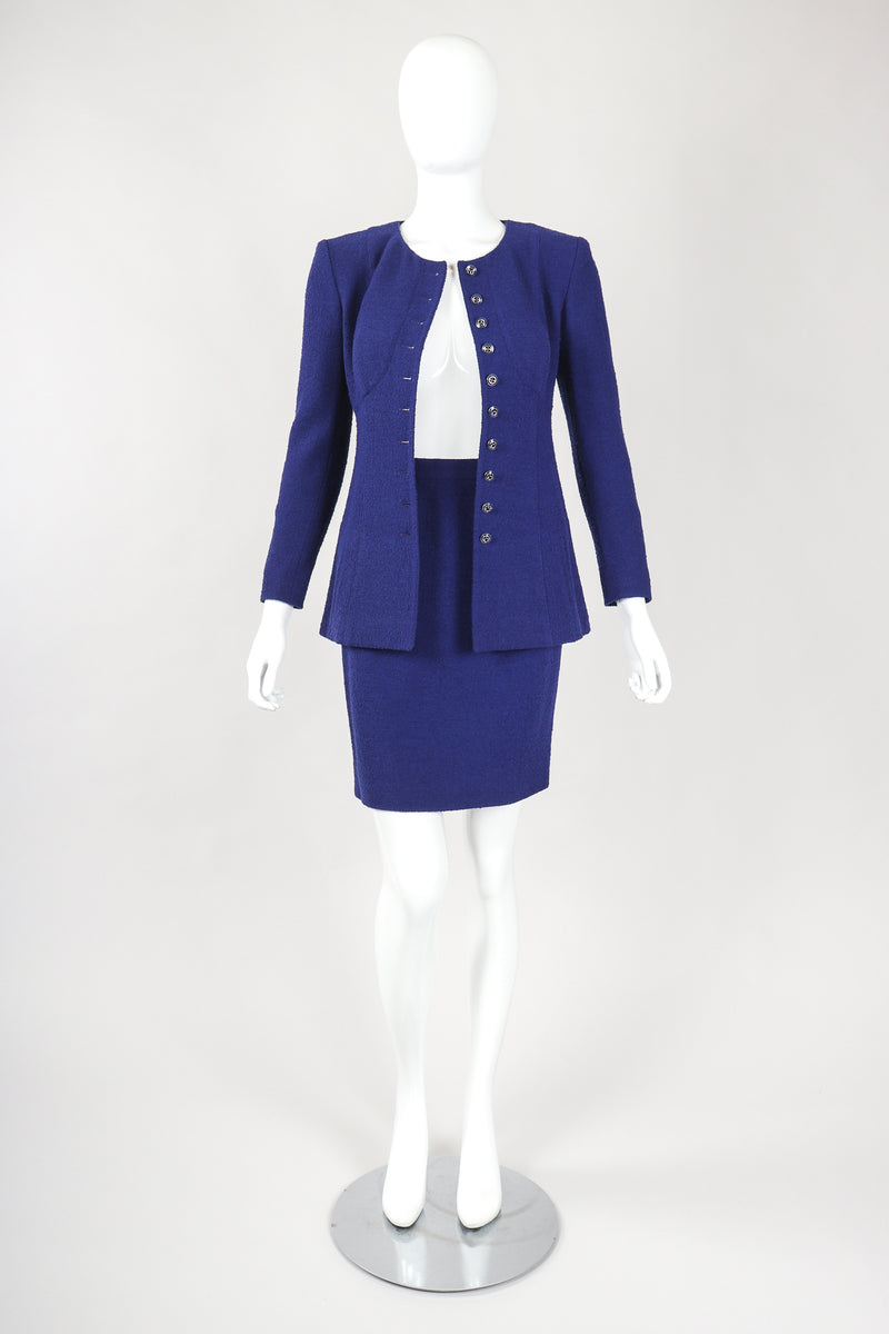 Recess Designer Consignment Vintage Karl Lagerfeld Bustier Bouclé Jacket & Skirt Suit Set Los Angeles Resale