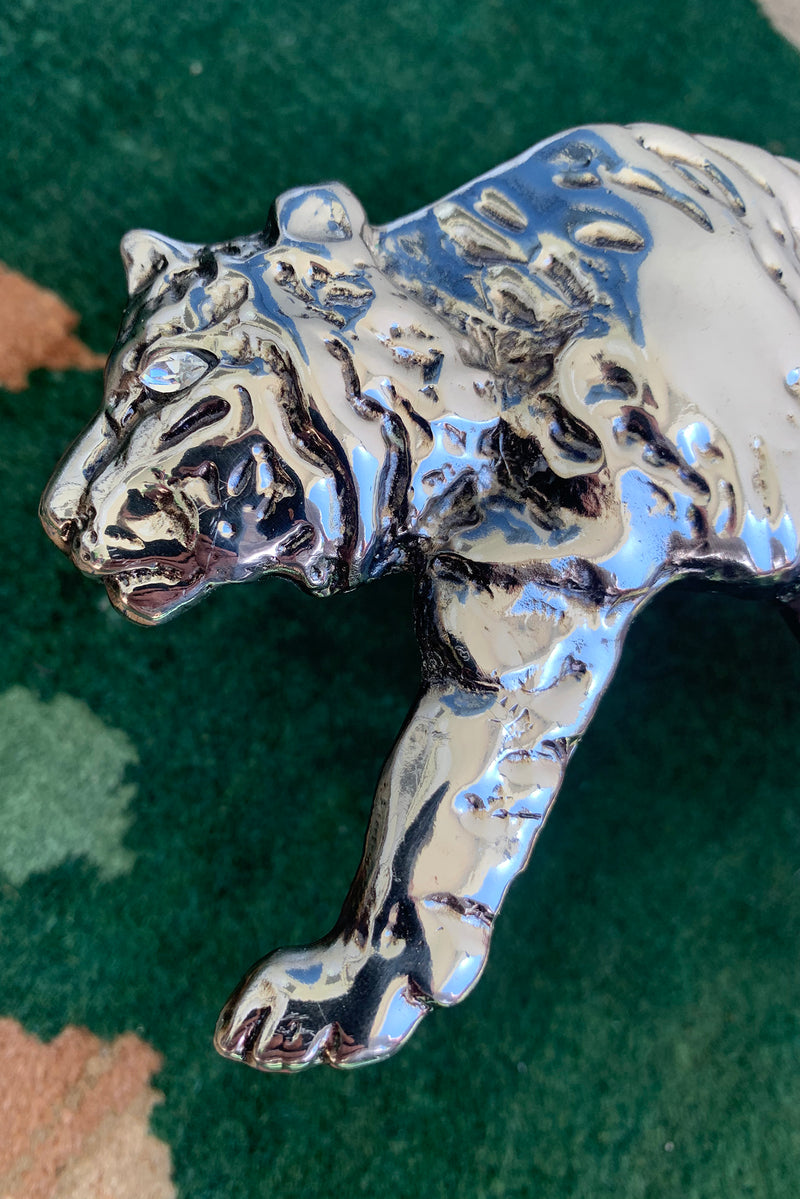 Vintage Laloon Embossed Tiger King Belt face detail at Recess Los Angeles