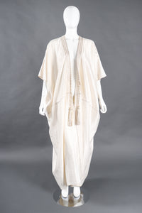 Recess Los Angeles Designer Consignment Vintage L'Artisan Du Liban Lebanese Striped Satin Seersucker Caftan Robe