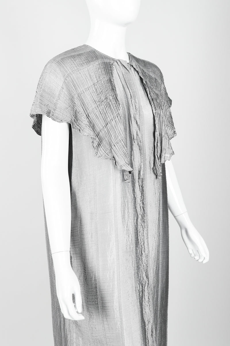 Vintage Laura Biagiotti Metallic Capelet Tunic on Mannequin angle crop at Recess Los Angeles