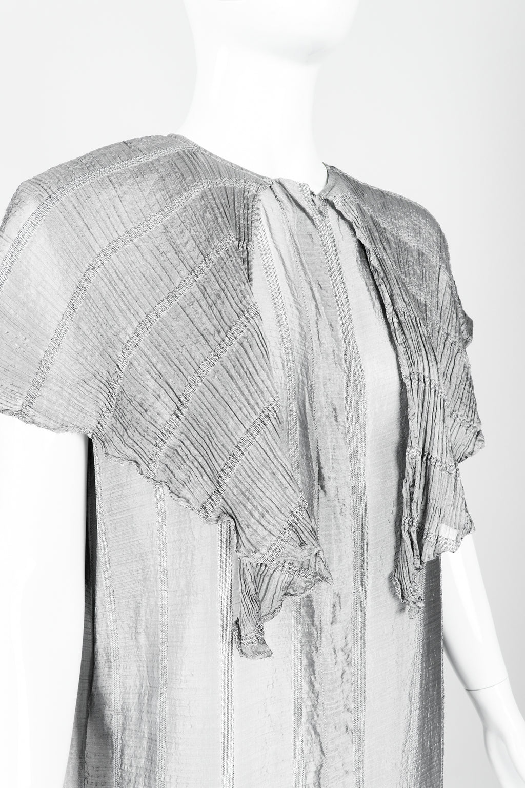 Vintage Laura Biagiotti Metallic Capelet Tunic on Mannequin Neck detail at Recess Los Angeles