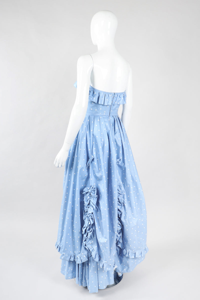 Recess Los Angeles Vintage Laura Ashley Polka Dot Broadcloth Strapless Cotton Ball Gown