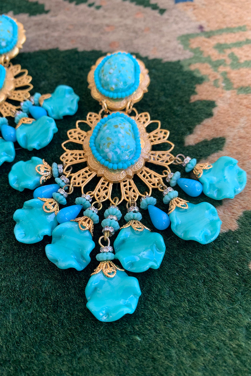 Vintage Lawrence Larry Vrba Turquoise Drop Chandelier Earring close up at Recess Los Angeles