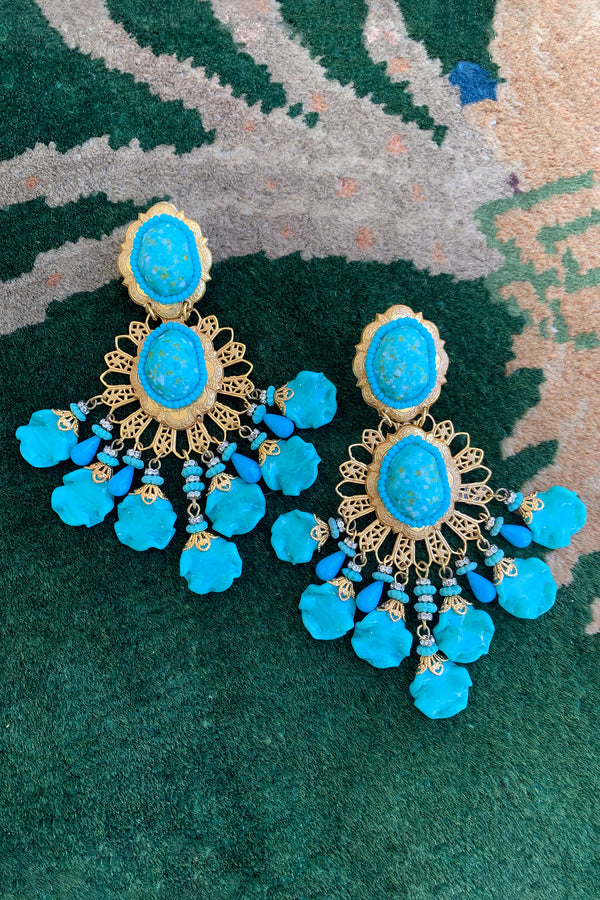Vintage Lawrence Larry Vrba Turquoise Drop Chandelier Earrings at Recess Los Angeles