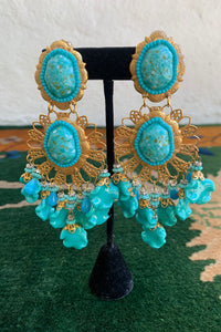 Vintage Lawrence Larry Vrba Turquoise Drop Chandelier Earrings on stand at Recess Los Angeles