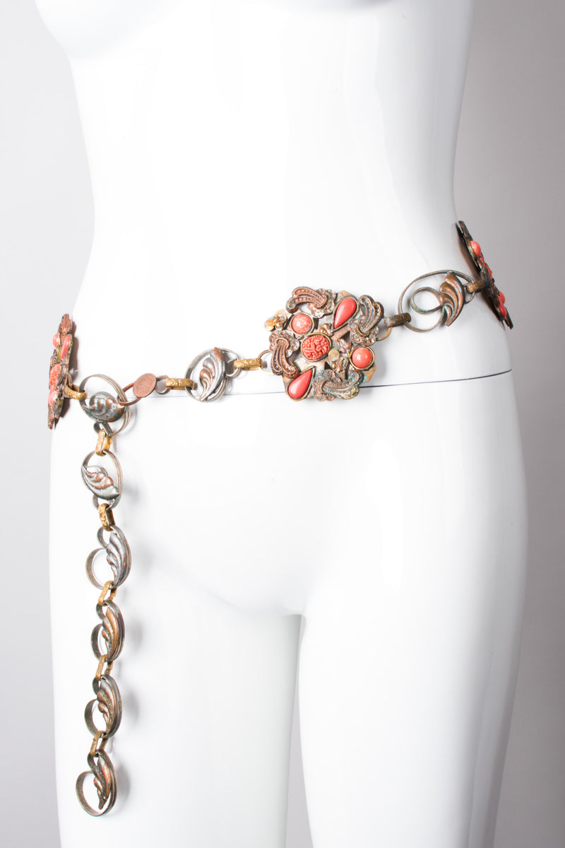 Artisan Vintage Bronze Carved Coral Chain Belt