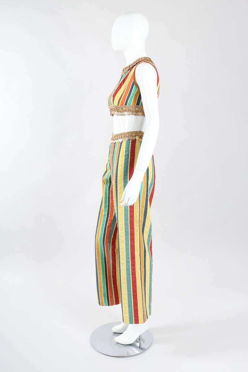 Recess Los Angeles Designer Consignment Vintage Leo Narducci Striped Seersucker Coin Fringe Crop Top & Pant Carnival Set