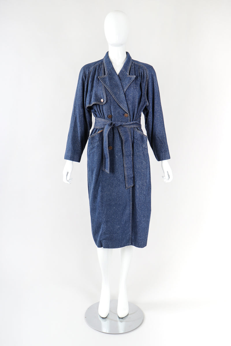 Recess Designer Consignment Vintage Leonard Double Breasted Denim Cocoon Car Coat Trench Los Angeles Resale