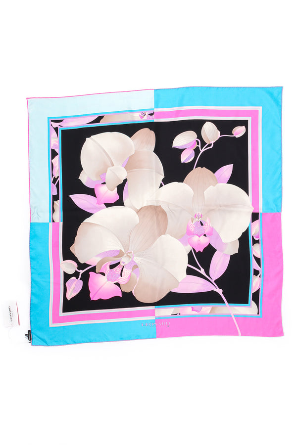 Vintage Leonard Silk Twill Orchid Blossom Scarf flat at Recess Los Angeles
