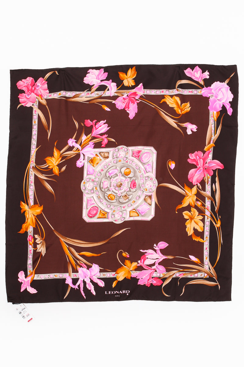 Vintage Leonard Iris Blossom Silk Scarf flat at Recess Los Angeles