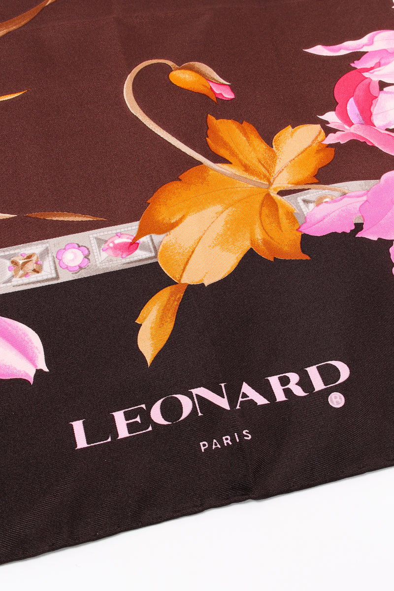 Vintage Leonard Iris Blossom Silk Scarf signature at Recess Los Angeles