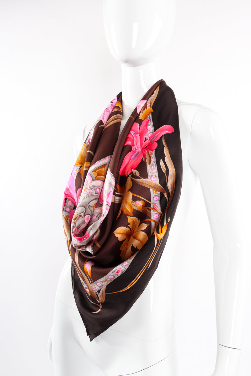 Vintage Leonard Iris Blossom Silk Scarf on Mannequin at Recess Los Angeles
