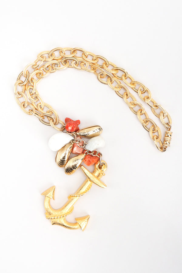 Recess Los Angeles Vintage Les Bernard Anchor Shell Mussel Charm Y Necklace