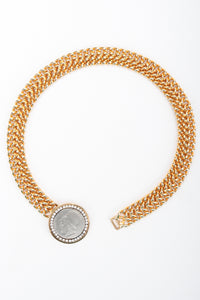 Recess Designer Consignment Vintage Les Bernard Greek Coin Chain Collar Pericles nepikahe Los Angeles Recycled Resale