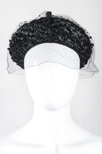 Recess Los Angeles Designer Consignment Vintage Leslie James Netted Raffia Straw Conical Pixie Kiss Hat